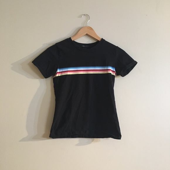 3c451139ef Forever 21 Tops - rainbow stripe black t-shirt | forever 21